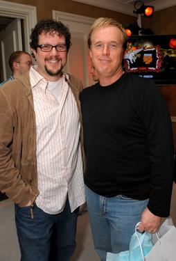 Brad Bird and Michael Giacchino at the Belvedere Luxury Lounge in honor of the 80th Academy Awards featuring Activision&#39;s Guitar Hero III: Legends of Rock.